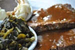 """soul food meatloaf and greens"""